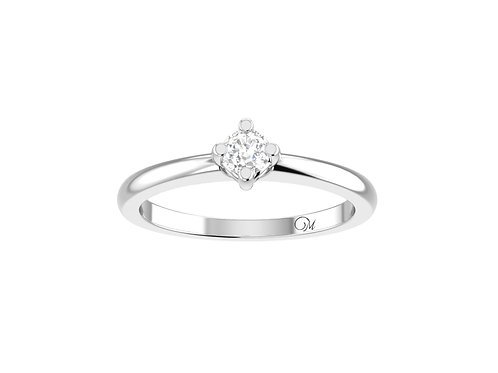 Petite Solitaire Brilliant-Cut Diamond Ring - RP4019