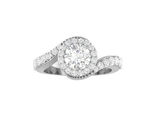 Round Brilliant-Cut Diamond Twisted Ring - RP0196