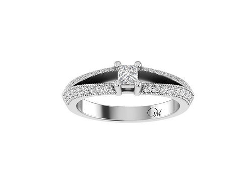 Petite Split Shank Princess-Cut Diamond Ring - RP2072.04