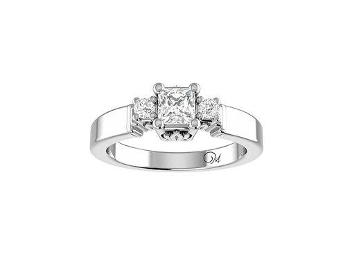 Three Stone Princess-Cut Diamond Ring - RP0046