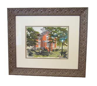 Tanner House Watercolor Custom Framed