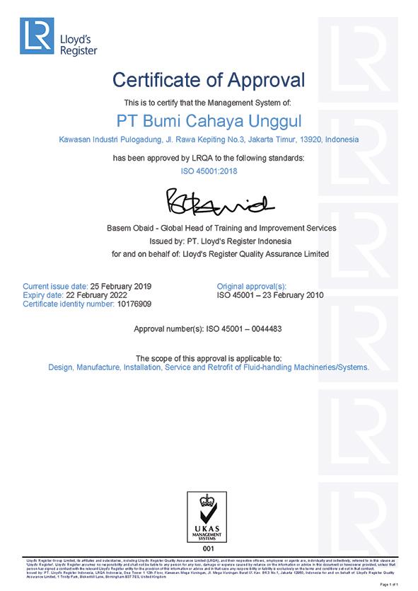 Sertifikat ISO 45001 versi 2018 sd 2022.