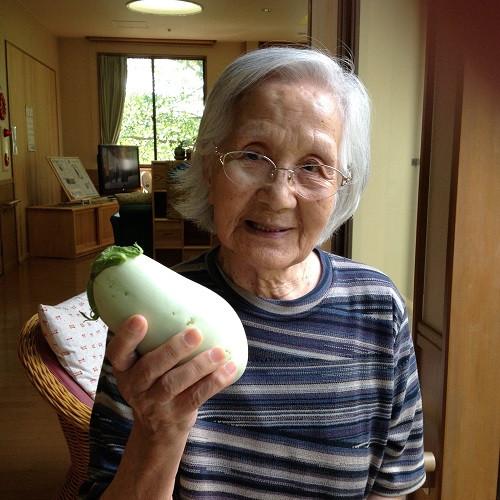 大きな白い茄子ですよ