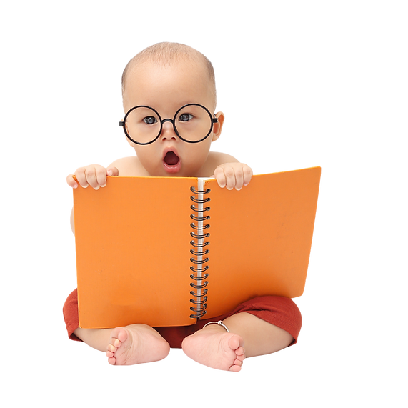 Smart Baby Reading a orange book with a surprised look