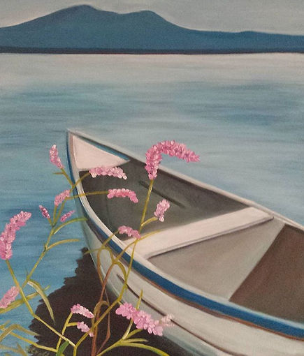 Another painting of a boat on Lake Chapa