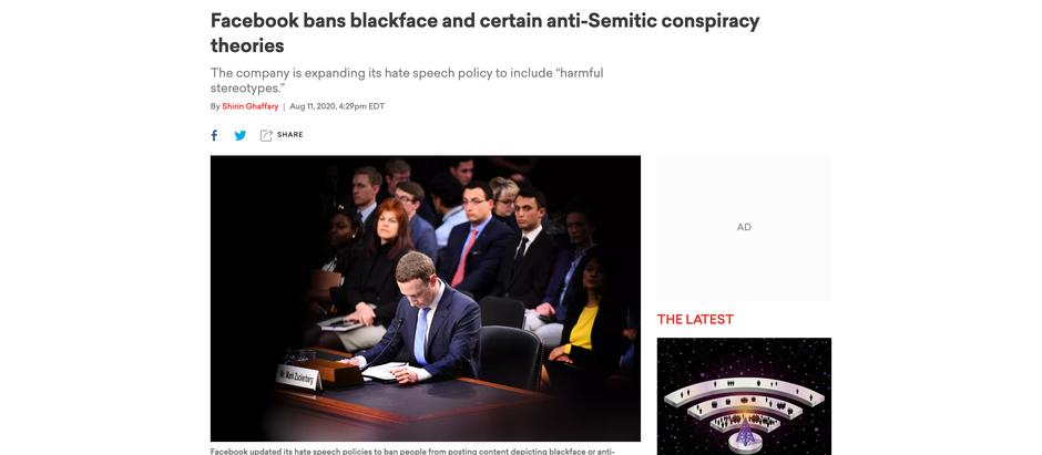 Facebook bane blackface e certas teorias da conspiração antissemitas