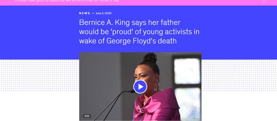 Após a morte de George Floyd, Berenice A King diz que seu pai ficaria orgulhoso dos jovens ativistas