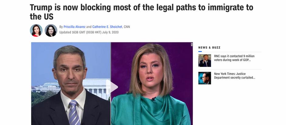 Agora Trump está bloqueando amaioria dos meios legais de imigração para os Estados Unidos