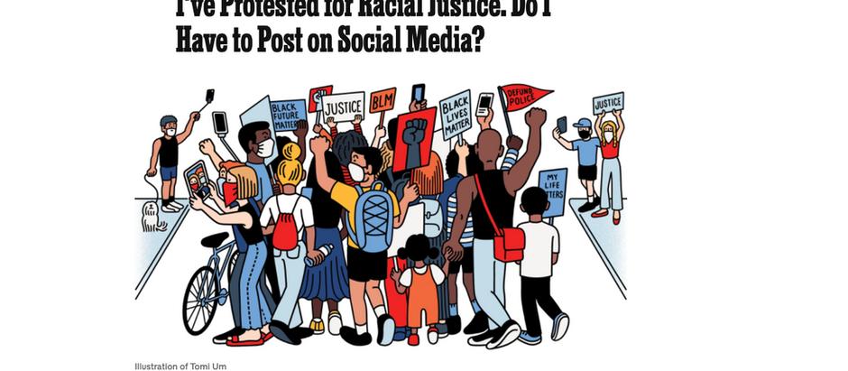 Protestei por justiça racial. Tenho que postar nas mídias sociais?