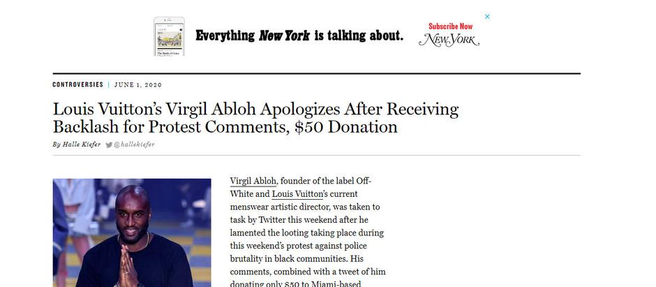 Virgil Abloh, da Louis Vuitton, pede desculpas após repercussão negativa por comentários sobre prote