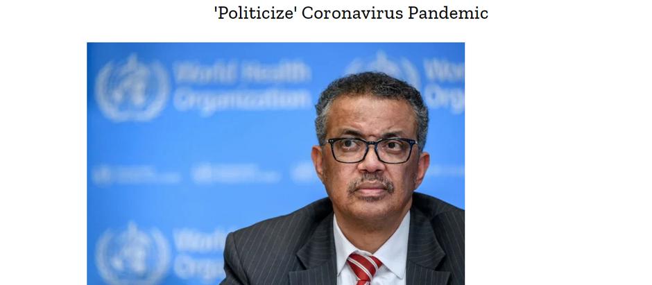 Diretor da OMS adverte líderes mundiais a não 'politizar' a pandemia de coronavírus