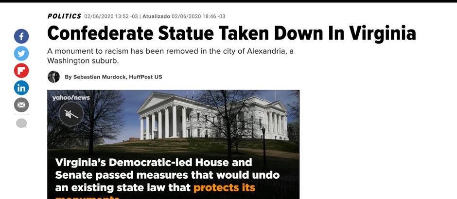Estátua confederada é derrubada na Virgínia