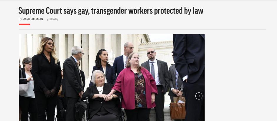 Suprema Corte diz que trabalhadores gays e transgêneros estão protegidos por lei