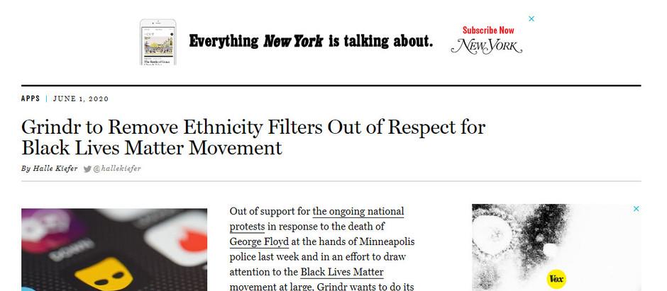 Grindr remove filtros de etnia em respeito ao movimento Black Lives Matter