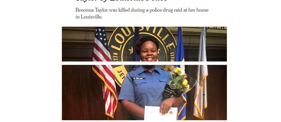 F.B.I. Investigará Morte de Breonna Taylor por Polícia e Louisville