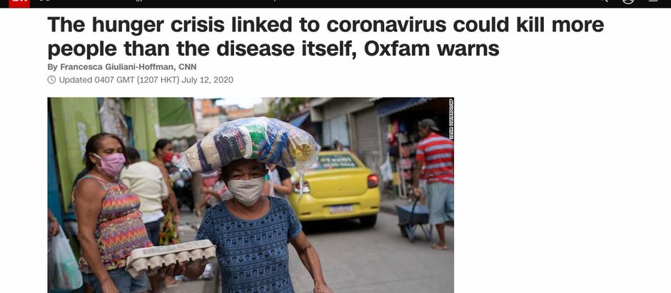 A crise de fome ligada ao coronavírus pode matar mais pessoas do que a própria doença, alerta Oxfam