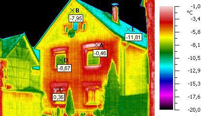 Aufnahme einer Fassade mit der Wärmebildkamera