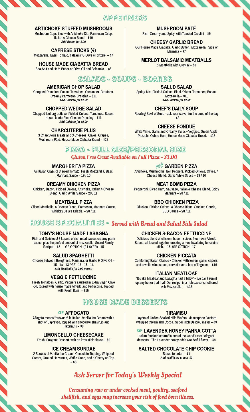 Tonys Kitchen Menu FOOD ONLY  August 202