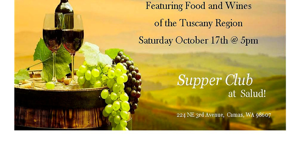 Supper Club at Salud - Wine Pairing Dinner - Tuscany