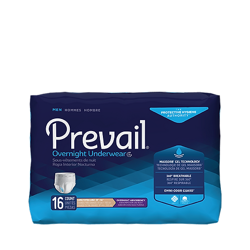 Prevail Men's Overnight Incontinence Underwear, L/XL - PMX-513: 4 bags of 16;64C