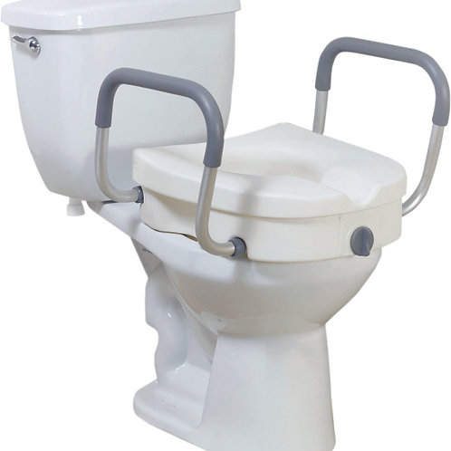 Drive 2-in-1 Locking, Raised Toilet Seat with Tool-free Removable Arms-12008KDR