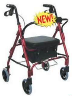 4-Wheel Aluminum Rollator with Nylon Tote Bag