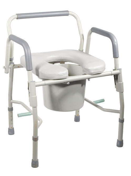Deluxe Steel Drop-Arm Commode with Padded Seat