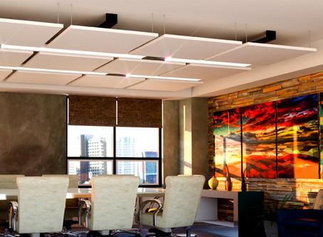Nuvens e Baffles Acústicos: Tendência em acústica e design de forros suspensos