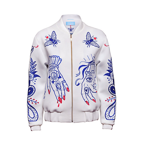 LUCKY Bomber Jacket in Off-White