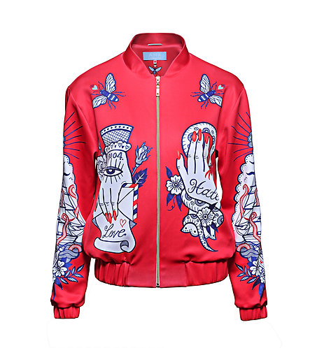 NEVER FOREVER Bomber Jacket in Red