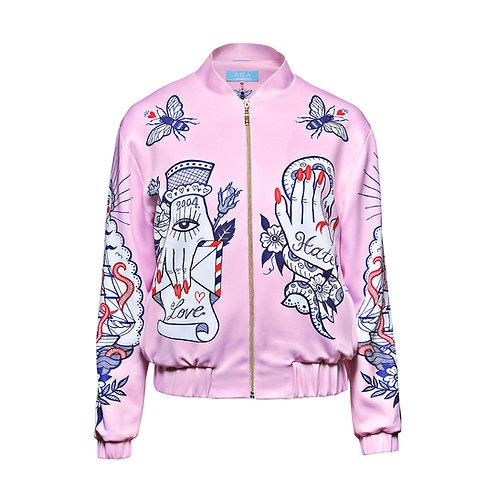 NEVER FOREVER Bomber Jacket in Light Pink