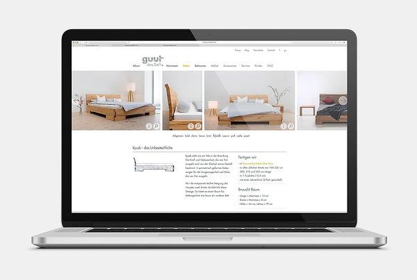 guut das Bett, Webseite Design