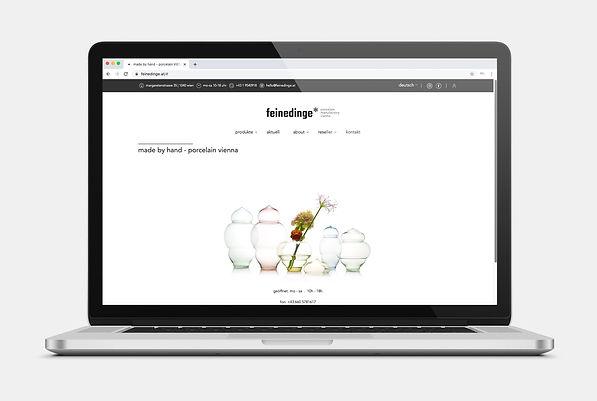 feinedinge Porzellan Wien Webseite Design