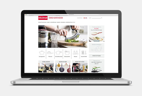Kelomat Kochgeschirr Pfannen Webseite Design