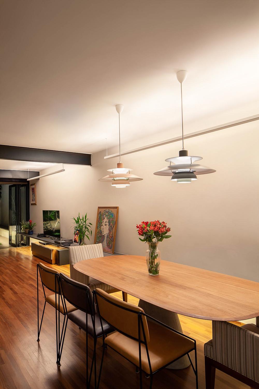 Sala de jantar, Projeto de iluminação Estúdio Oh