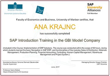SAP ERP certifikat o poznavanju rešitve