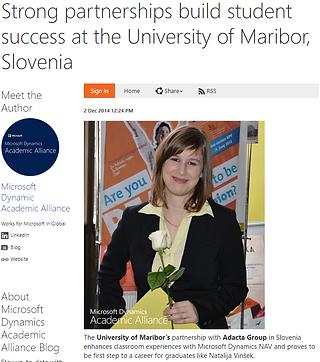 Študija primera študentke e-poslovanja in MS Dynamics Academic Alliance