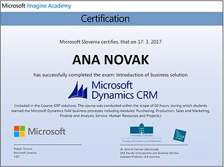 Microsoft Dynamics CRM certifikat o poznavanju rešitve