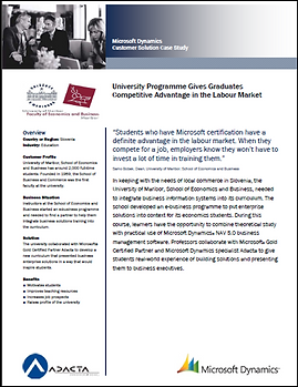 Študija primera o študijju e-poslovanja in učenju rešitev MS Dynamics