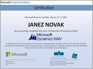 Microsoft Dynamics NAV certifikat poznvanje rešitve