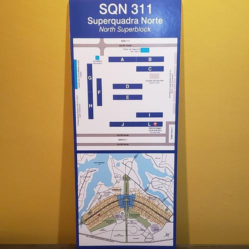 Mapa de quadra + mapa de Brasília personalizado