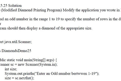 Ex5.25 Solution Java (Modified Diamond Printing Program)