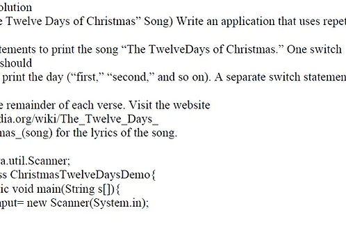 "Ex 5.29 Solution  Java  (""The Twelve Days of Christmas"" Song)"