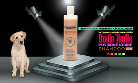 Budle Budle Povidone Iodine Shampoo aids in the treatment of fungal and bacterial skin infections in animals. Mild formulation for daily use.  Acne-like bumps, and also hot spots, minor abrasions, and any other skin problem that either is infected or could become infected, Our Povidone Iodine Shampoo disinfects the trouble area.   It doesn't sting or irritate the dog's skin at all. And it's safe if dogs lick the area after cleaning.  The goal isn't to rub the skin raw of all bacteria, but just gently disinfect the trouble areas, paying special attention to the areas where there are lesions and eruptions that could evolve into a more serious, secondary skin infection. The great thing about povidone iodine is it's completely harmless if ingested.  We recommend you do this disinfecting process daily if your dog has a minor skin infection or other skin issues.  This unique blend of natural ingredients found in the Budle Budle Povidone Iodine Dog Shampoo coats and releases the undercoat during the shampoo. It doesn't contain any harsh ingredients.  It also moisturizes your pet's hair with the very mildest ingredients to cleanse and their formula begins with Aloe Vera to nourish and moisturize skin and coat. Nettle Leaf is added to naturally soothe skin irritations.  THE MOST EFFECTIVE NATURAL PET SHAMPOO. Our Pet Wash Shampoo is a premium coat and skin treatment that comes directly to you and your pet without sacrificing vegan and organic principles or quality.