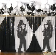 Black and white drapery art.