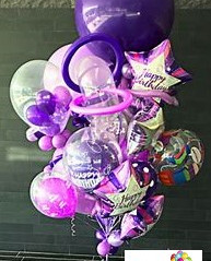 Purple Bithday Surprise Balloon Bouquet