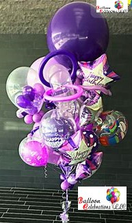Purple Bithday Surprise Balloon Bouquet