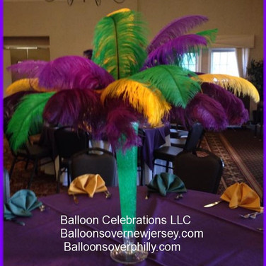 Mardi Gras Feather Centerpiece