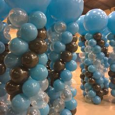 Balloon columns for stage decor.