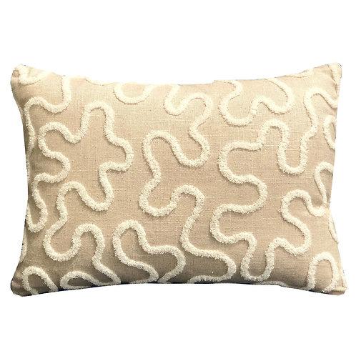Chandra Taal Beige Geometric Luxury Throw Pillow